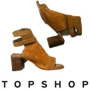 Topshop Suede Studded Heeled Shoeties Sz 7